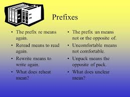 Learn how to use prefixes suffixes and base words to find the