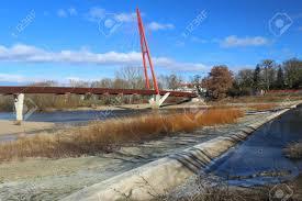 100 Magdeburg Water Bridge Suspension Bridge Over Branch Of River Elbe In