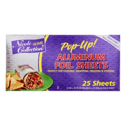 Nicole Home Collection Pre-Cut Standard Aluminum Foil, 12 inch x 10 3/4 inch, 25 Sheets, 1 ct