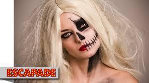 Halloween Half Mask Ideas by Half Skull Face Halloween Makeup Tutorial Halloween Makeup Ideas