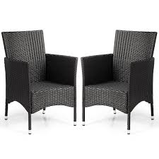 Gymax 2PC Patio Rattan Wicker Dining Chairs Set Black With 2 Set Cushion  Covers Lotta Ding Chair Black Set Of 2 Source Contract Chloe Alinum Wicker Lilo Chairblack Rattan Chairs Uk Design Ideas Nairobi Woven Side Or Natural Flight Stream Pe Outdoor Modern Hampton Bay Mix And Match Brown Stackable