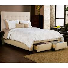 King Platform Bed With Tufted Headboard by Bedroom Cream Upholstered Bed With Tufted Headboard And Drawer