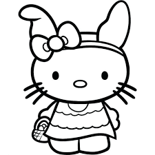 Hello Kitty Coloring Pages Free Easter