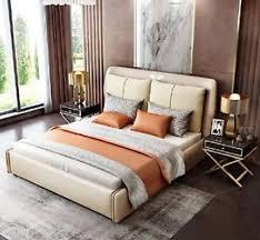 luxus schlafzimmer designer doppelbett bett 180 200x200cm leder metall neu hotel