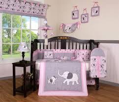 Luxury Baby Bedding Boutique Pink Gray Elephant Dynasty 13PCS CRIB