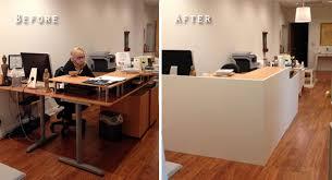 lobbybeforeandafter ikea desk and facade office ideas