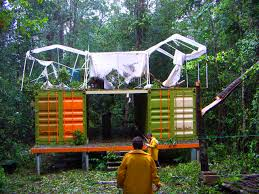 Jungle Landscape Shipping Container House Design Ideas Green And Orange Themes With Neutral Fresh Trees
