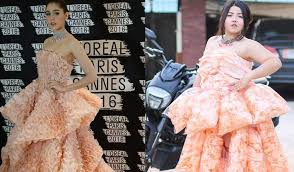 Plus Size Model Recreates High Fashion Gown With Bags Of Shrimp