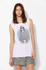 urban outfitters kurt cobain tunic muscle tee in white lyst