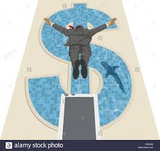 A Businessman Jumping Off Diving Board Into Swimming Pool Shaped Like Dollar Sign