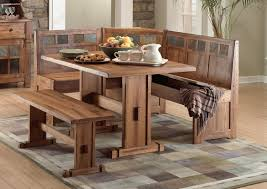Rustic High Top Corner Wood Kitchen Table Sets With Bench Seat And Storage Back Ideas