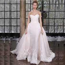 Elegant Designer Pink Rustic Wedding Dresses Lace 2017 Mermaid Vestido De Noiva Tule Encaje Detachable Train