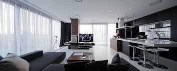 Living Room And Kitchen Design Of Modern Combo With Open Plan Bar