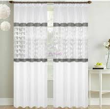 2er set gardinen fertiggardine panel weiß grau vorhang wohnzimmer 145x250 cm