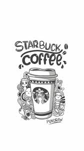 Drawn Starbucks Tumblr Black And White 8