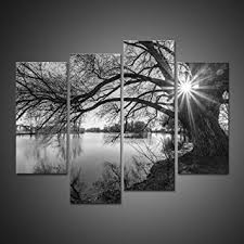 Gray Black Modern Abstract Contemporary Artwork Canvas Painting Wall Art Picture And White Tree Silhouette