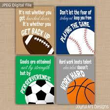 Set Of 4 Motivating Sports Quotes PRINTABLE Signs Football Soccer Baseball Basketball Wall Art Boy Bedroom Decor DIGITAL Files
