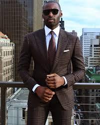 men u0027s dark brown plaid suit light blue oxford shirt brown tie