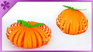 DIY Paper Pumpkin Halloween Decoration ENG Subtitles Speed Up