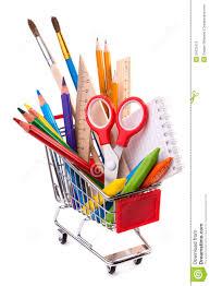 fournitures de bureau fournitures de bureau d école ou outils de dessin dans un caddie