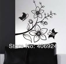 New Listing Removable Drawing Room PVC Wall Stickers Butterfly And Flower Home Decoration Art Decals