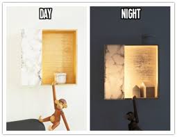 how to make diy wall light with wooden storage boxes how