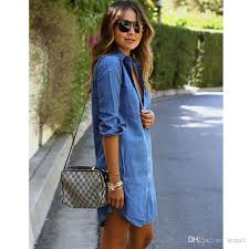 Denim Dress Women Plus Size Tunic Slim Summer Style Short Sleeve Casual Jeans Dresses Vestidos Robe Femme 1 White For Parties From Leina1