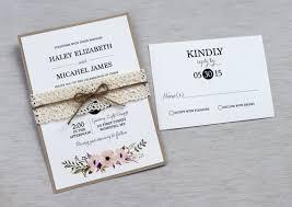 Vintage Lace Wedding Invitation Rustic Floral Modern Boho Shabby Chic