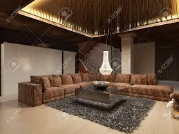 luxus modernes wohnzimmer im deco stil in dunklen brauntönen das design ist in braun und gelb farbe 3d render