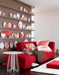 taupe kombiniert mit rot und weiß schöner wohnen