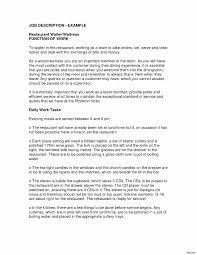Catering Job Description For Resume Fresh Server Sample Waitress Download