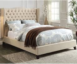 BEIGE LINEN TUFTED UPHOLSTERY BED