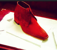 handmade mens ankle suede leather boots in cherry red men cherry