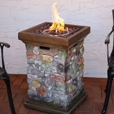 Stacked Stone Rectangle Fire Pit W Wind Guard Outdoor Furniture