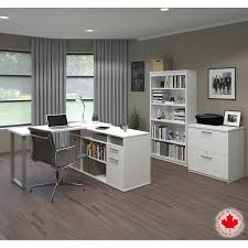 bestar solay white l shape desk with file and bookcase