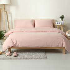 Cotton washed fabric Vintage style light pink bed cover set