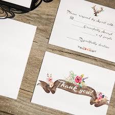 Black Laser Cut Deer Rustic Wedding Invitation With Suede Ribbon EWWS094 7