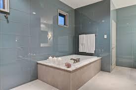bathroom look bigger with large format glass tile furniture
