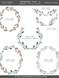 Watercolor Leaves Wreaths Clipart Floral Frames Graphics Wedding Invitation Eucalyptus Branch
