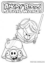 Printable Angry Birds Star Wars Dart Vader Vs Luke Coloring Page