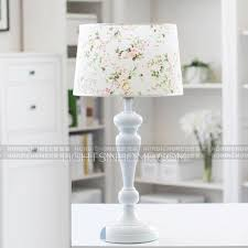 white resin fixture floral fabric shade modern bedroom table ls