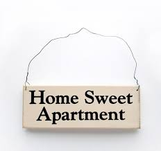 Home Sweet Apartment Sign Rustic White With Black Lettering Knock On Wood