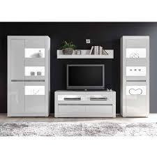 wohnzimmer möbel programm in hochglanz weiß mextra mit beton dekpr 4 teilig