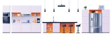 Interior Design Modern Kitchen Background 5 Stock Vektor Free Vector Modern Kitchen Interior Design