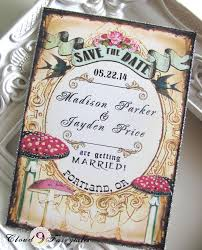 Vintage Save The Date Wedding Invitations Woodland Magical Forest Birds Mushrooms Fairytale Rustic Style 6800