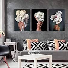 wwjwf blumen federn frau abstrakte leinwand malerei wand kunstdruck poster bild dekorative malerei wohnzimmer dekoration 50x70cmx3 kein rahmen a