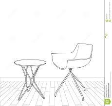 dessiner une chaise croquis de table et de chaise intérieures modernes illustration