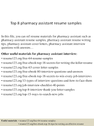 Top 8 Pharmacy Assistant Resume Samples In This File You Can Ref Materials For