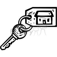 Royalty Free Black White House Key 382960 Vector Clip Art Image