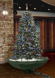 Snowing Christmas Tree With Umbrella Shaped Base Its